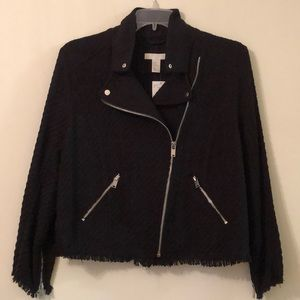 NWT H&M size 16 black tweed moto jacket